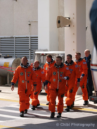 STS-132 crew members, leaving the Operations and Checkout Building for a trip to launch pad 39-A and lift off on the space shuttle Atlantis Friday. Kennedy Space Center FL. May 14, 2010