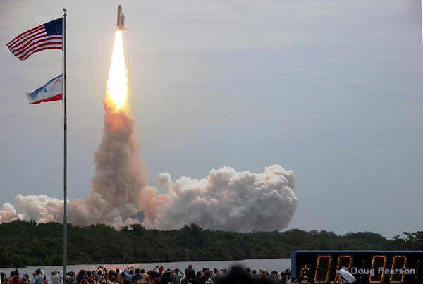 Space Shuttle Atlantis (OV104) lifts off of Pad 39A at Kennedy Space Center on mission STS-135, the final flight of the Space Shuttle program.