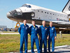 Atlantis Crew for STS-135, the final Space Shuttle flight.  Pictured Left to Right, Rex J. Walheim, Mission Specialist, Christopher J. Ferguson, Commander, Douglas G. Hurley, Pilot and Sandra H. Magnus, Mission Specialist.