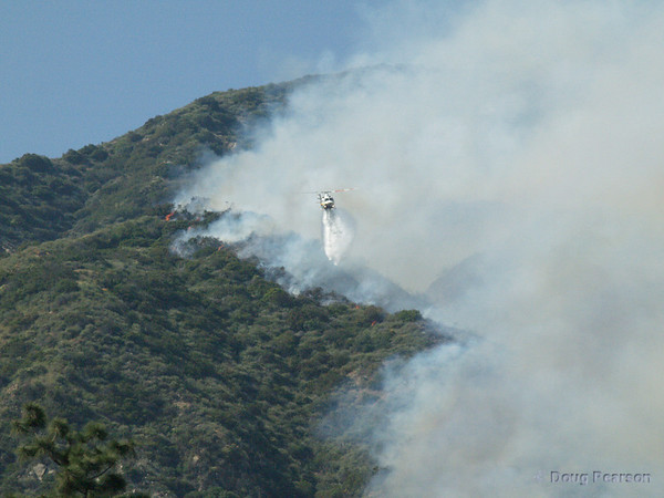 LA County FIre Department, Copter 11 drops on the Brush Fire in Sierra Madre, March 26, 2008