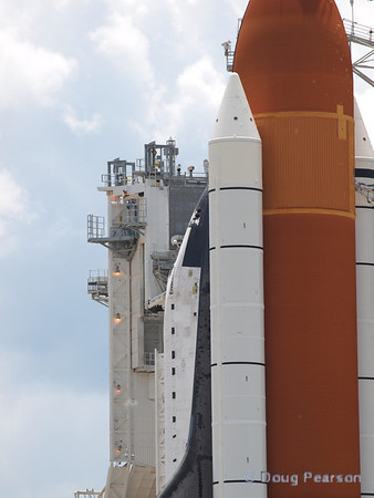 Winds blew some of the Thruster covers loose on Endeavour prior to launch of STS-134