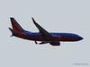 A Southwest 737 flies out of Burbank