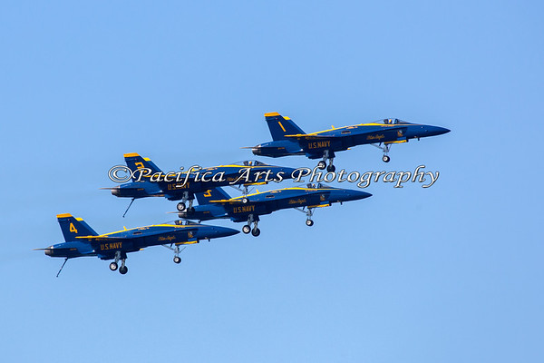 Blue Angels flying in formation with all landing gear down. (2012)