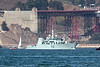 """HMCS Brandon"" (MM 710) has just passed the Golden Gate Bridge, during Fleet Week's Parade of Ships.  The ""Brandon"" is a sister ship to the HMCS Edmonton, and is a Kingston class coastal defense vessel."