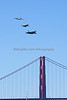 P51 Mustang, F-16 Fighting Falcon & F-22 Raptor in the USAF Heritage Flight Demonstration, flying over the Golden Gate Bridge (2012)