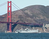 "Liberty Ship, ""Jeremiah O'Brien"", passes under the Golden Gate Bridge during Fleet Week's Parade of Ships."