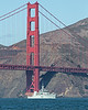 """HMCS Edmonton"" (MM 703) passes under the Golden Gate Bridge during Fleet Week's Parade of Ships.  She is a Kingston class Coastal defense vessel, measuring 181 ft. long.  She can accomidate 47 personnel."