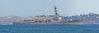 "Panorama of the ""USS Preble"" cruising in the San Francisco Bay during Fleet Week's Parade of Ships."