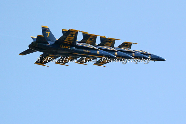 """Boeing F/A-18 Hornet, """"Blue Angels"""" flying in tight formation. 2008"""
