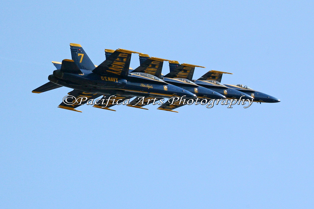 "Boeing F/A-18 Hornet, ""Blue Angels"" flying in tight formation. 2008"
