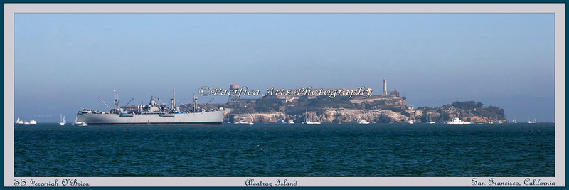 """SS Jeremiah Obrien"" in front of Alcatraz Island in the San Francisco Bay."