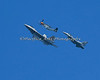 P51 Mustang, F-16 Fighting Falcon & F-22 Raptor in the USAF Heritage Flight Demonstration. (2012)