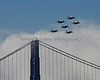 All six Blue Angels passing over the Golden Gate Bridge. (2012)