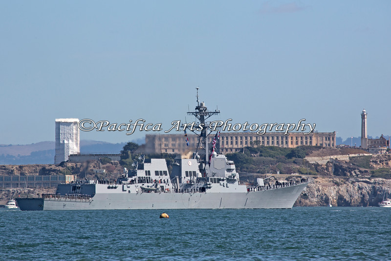 "Panorama of the ""USS Spruance"" in the Parade of Ships, passing near Alcatraz Island."