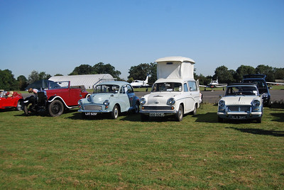 Our Morris Minor 'Lottie' amongst the varied classic cars