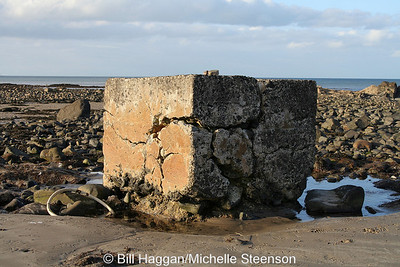 Remains of navigation beacons leading up to runway 03/21 at Ballyhalbert airfield.