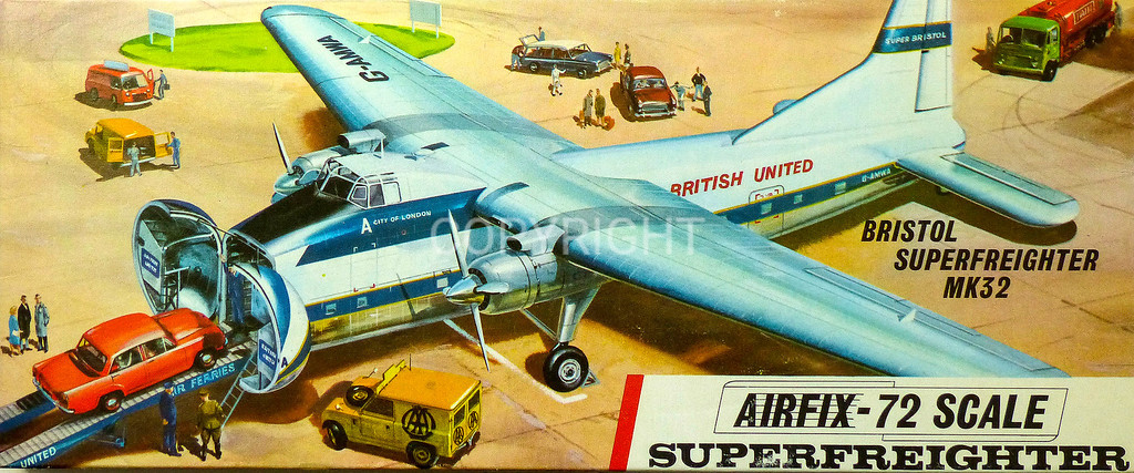 Post war British Bristol Superfreighter car transport.