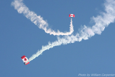 The Canadian Forces Skyhawks Parachute Team performs in the skies over Abbotsford BC at the 2010 Abbotsford International Air show.