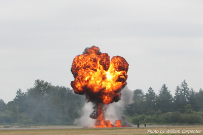 Simulated munitions during an airfield assult demo.