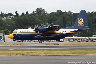 The Blue Angels C-130 support aircraft, Fat Albert, takes off.