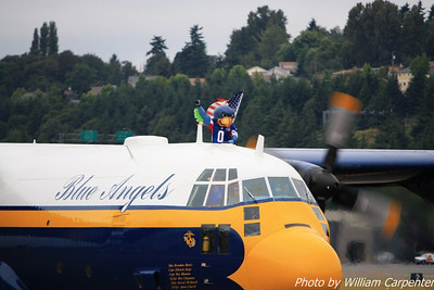 Fat Albert was carrying the Seahawks mascot during its practice flight.