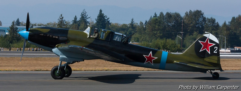 The only airworthy example of the Il-2 Shturmovik taxis by.