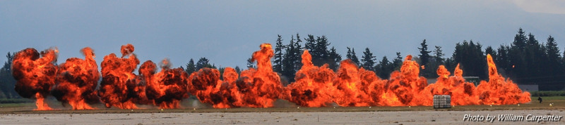 Simulated munitions fire during the hornet demo.