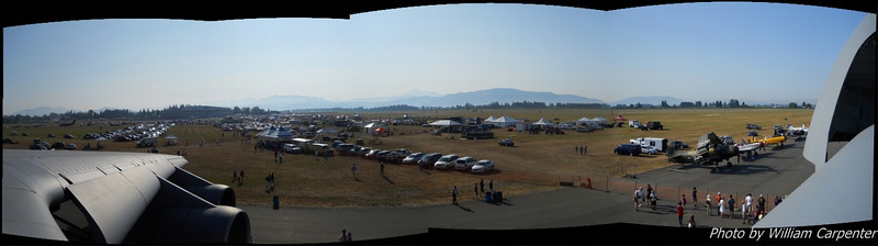 A panorama of the show site taken from the top hatch of a C-5 Galaxy on static display.