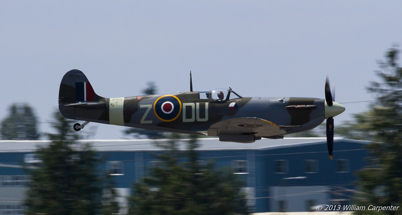 Bud Granley brings the Spitfire in for a low pass.