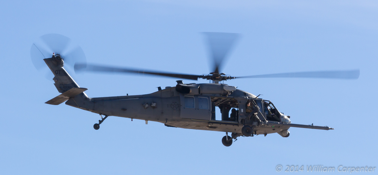 A Pave Hawk takes part in a rescue demo.
