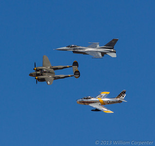 A USAF heritage flight comprised of an F-16, a P-38 (my favorite WWII warbird), and and F-86.