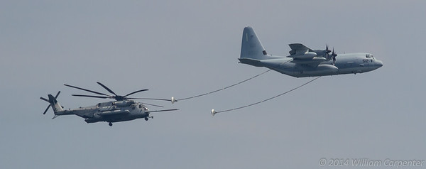 The super stallion refueling on a KC-130.