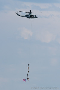 The marines are extracted by a Huey.
