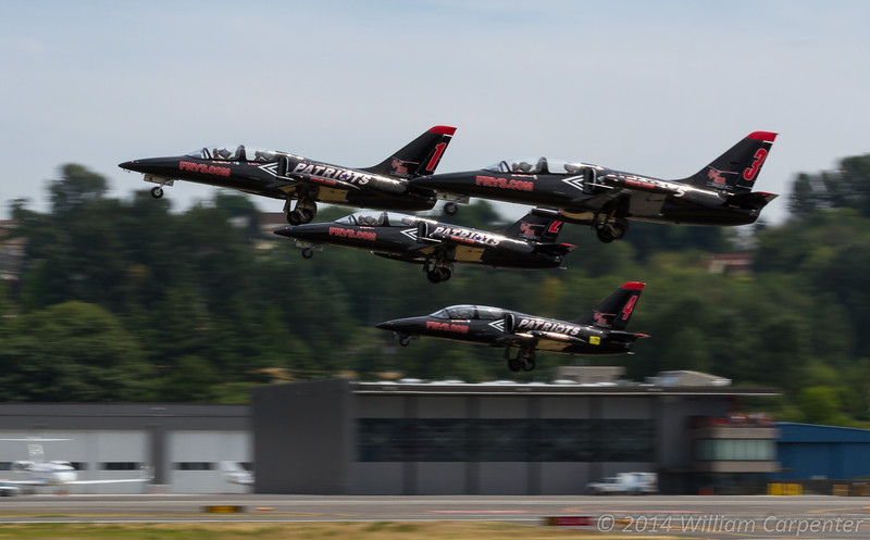 Playing with motion blur as the Patriots Jet Team launches prior to their display.