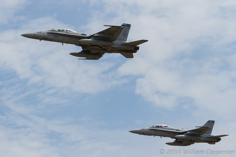 Two USMC hornets also head off to take part in the display.