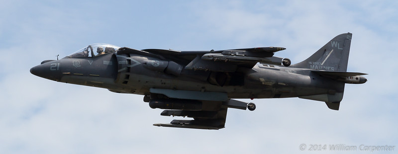 The first of two harriers launches in support of the Marine Corps assault demo.