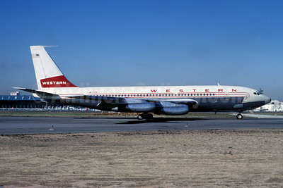 Western Airlines Boeing 720-062 N720V (msn 18376) LAX (Ted J. Gibson - Bruce Drum Collection). Image: 907879.
