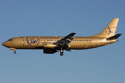 LOT Polish Airlines Boeing 737-45D SP-LLC (msn 27157) (80th Anniversary) LHR (Antony J. Best). Image: 904296.