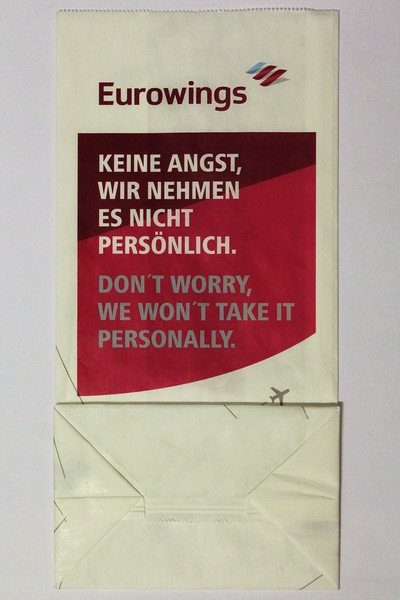 "Eurowings (EW) ""Don't Worry"" Sick Bag (Rear)"
