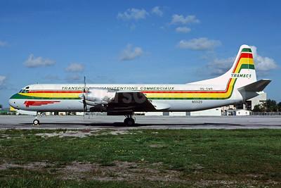 TRAMACO - Transports et Manutentions Commerciaux Lockheed 188A (F) N5529 9Q-CWR (msn 1048) MIA (Bruce Drum). Image: 104171.