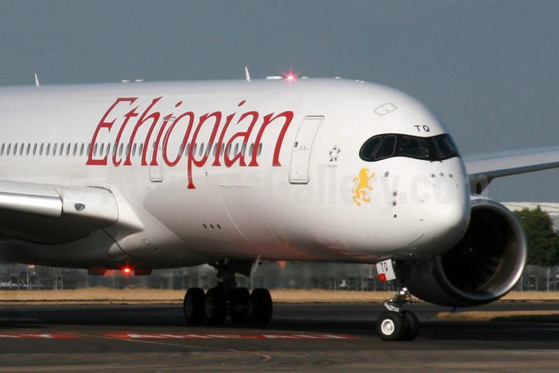 "Ethiopian Airlines Airbus A350-941 ET-ATQ (msn 040) ""Simien Mountains"" LHR (SPA). Image: 934694."