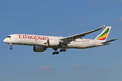 "First flight June 8, 2016 for the first Airbus A350 for Ethiopian, became ET-ATQ, named ""Simien Mountains"""