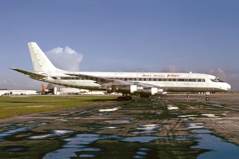 Ghana Airways Airtours Douglas DC-8-33 N8184A (msn 45271) (Delta colors) MIA (Bruce Drum). Image: 104984.