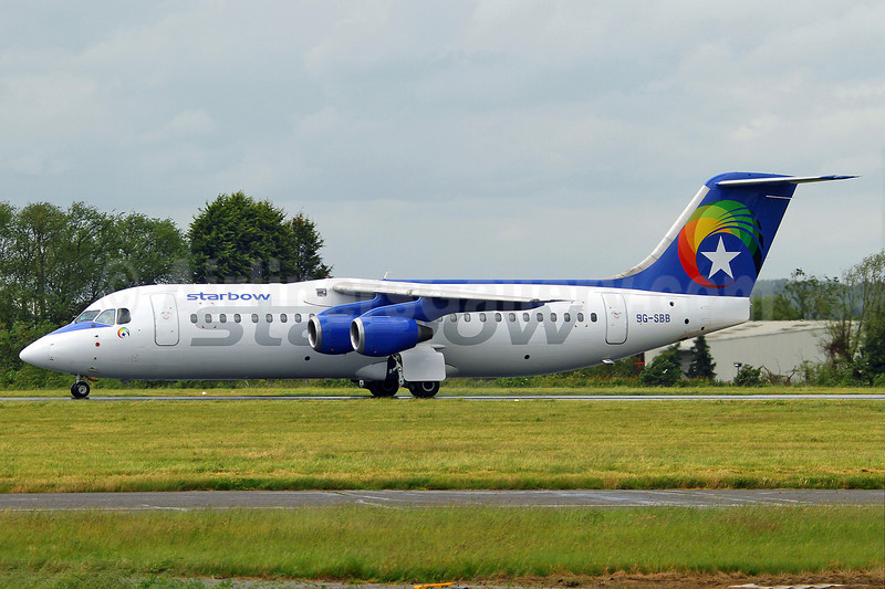 Starbow Airlines BAe 146-300 9G-SBB (msn E3123) SEN (Keith Burton). Image: 908647.