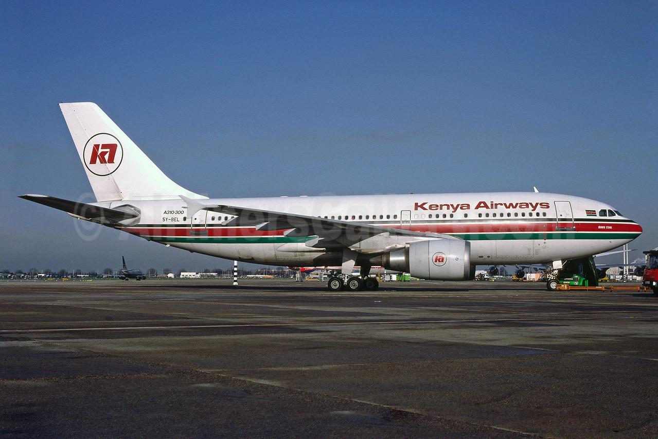 Kenya Airways Airbus A310-304 5Y-BEL (msn 416) LHR (Richard Vandervord). Image: 913948.