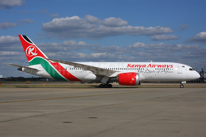 Kenya Airways Boeing 787-8 Dreamliner 5Y-KZD (msn 36041) LHR. Image: 926608.