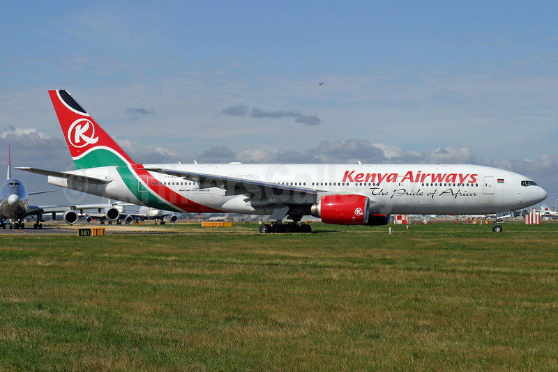 Kenya Airways Boeing 777-2U8 ER 5Y-KQS (msn 33683) LHR (Antony J. Best). Image: 900557.