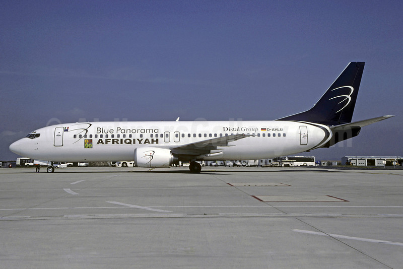 Afriqiyah Airways-Blue Panorama Airlines Boeing 737-4K5 D-AHLU (msn 27831) (Blue Panorama colors) CDG (Christian Volpait). Image: 901258.