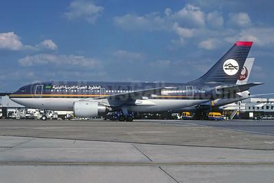 Libyan Arab Airlines (Libyan Airlines) (Royal Jordanian Airlines) Airbus A310-203 JY-AGV (msn 306) (Alia colors) LHR (SPA). Image: 952067.