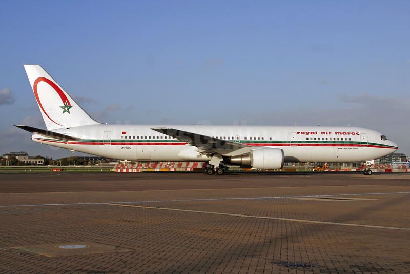 Royal Air Maroc Boeing 767-328 ER CN-ROG (msn 27212) LHR. Image: 924640.